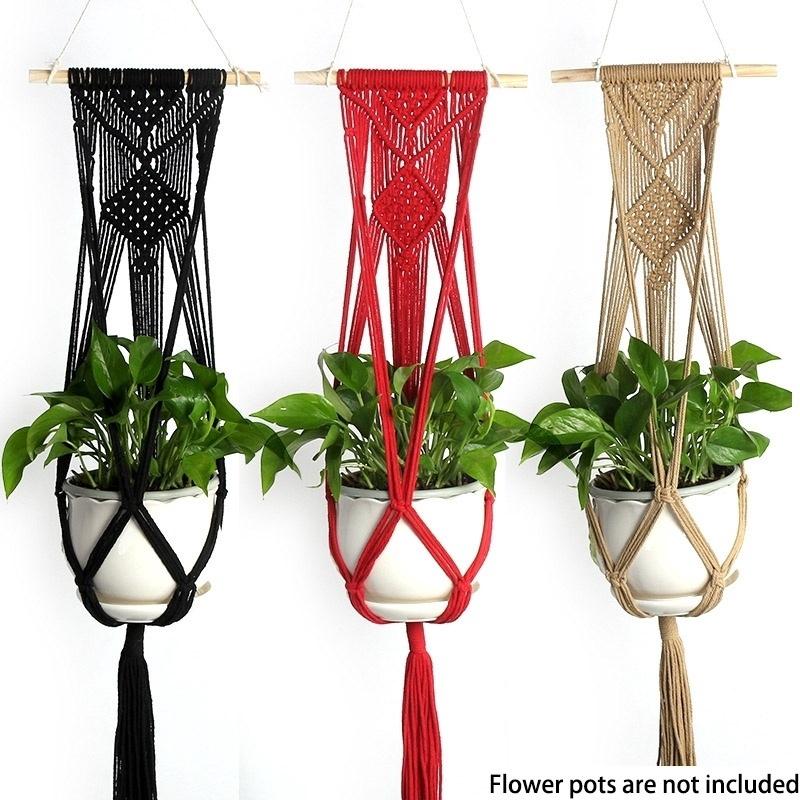 Pot holder macrame plant hanger hanging planter basket jute braided rope craf WD