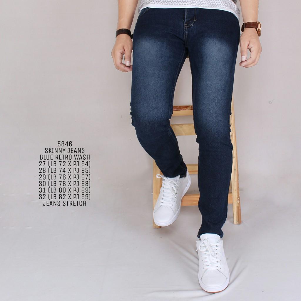 Zoeystore 5360 Celana Jeans Panjang Pria Exclusive Celana Jeans Skinny Cowok Washing BlueSky | Shopee Indonesia