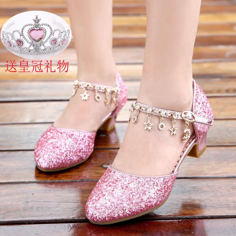 Gadis Kecil High Heels Princess Sepatu Gadis Baotou Sandal Anak Kristal Sepatu Mahasiswa Perak Tampi Shopee Indonesia