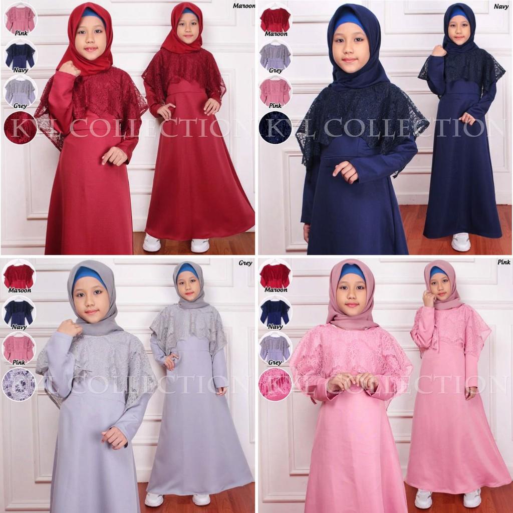 Gamis Anak Bismilah Kids Baju Fashion Muslim Brukat Lebaran Maxi Anak  Brokat 8 warna Long Dress Anak