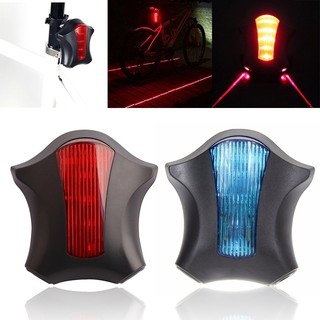 2 Laser Beam Blue 5 LED Flashing Cycling Bike Rear Tail Warning Lamp Safety Warn