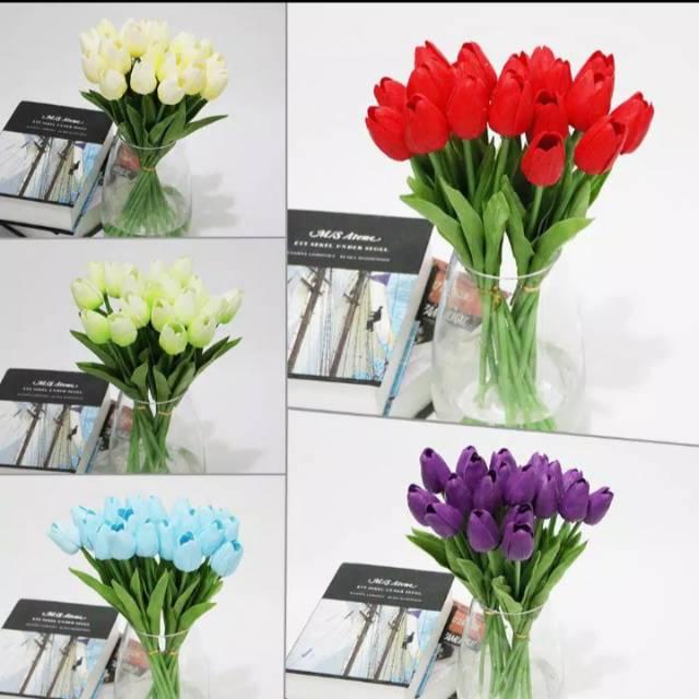 Bunga Tulip Palsu Latex Hiasan Dekorasi Per Tangkai Kualitas Impor