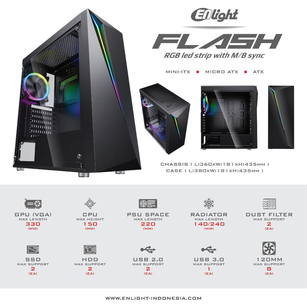 Casing Enlight Flash Include Fan 1pcs Rgb No Psu Shopee Indonesia