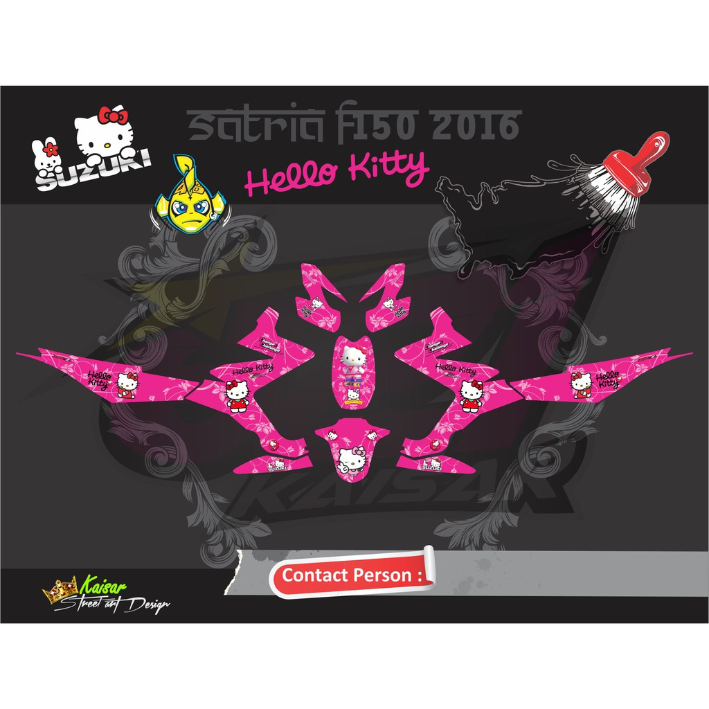 STICKER MOTOR CUSTOM SATRIA FU FI 2016 HELLO KITTY PINK Qlty A