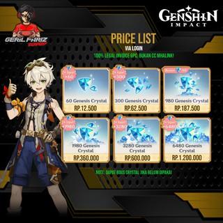 Promo Top Up Genesis Crystals Genshin Impact Pc Android Ios 100 Legal Dan Kilat Nominal Sedang Shopee Indonesia