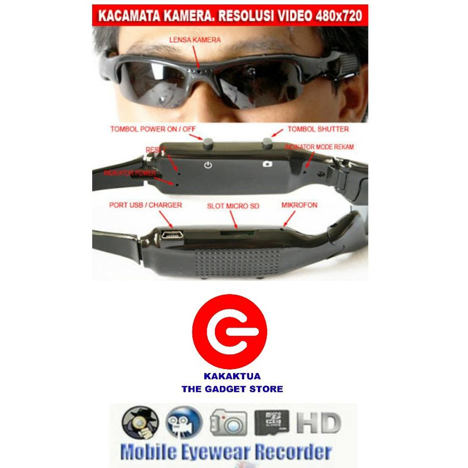 Kacamata Pengintai Kamera Lensa Bening - Spy Cam Eye Wear Camera ... e7ae201819