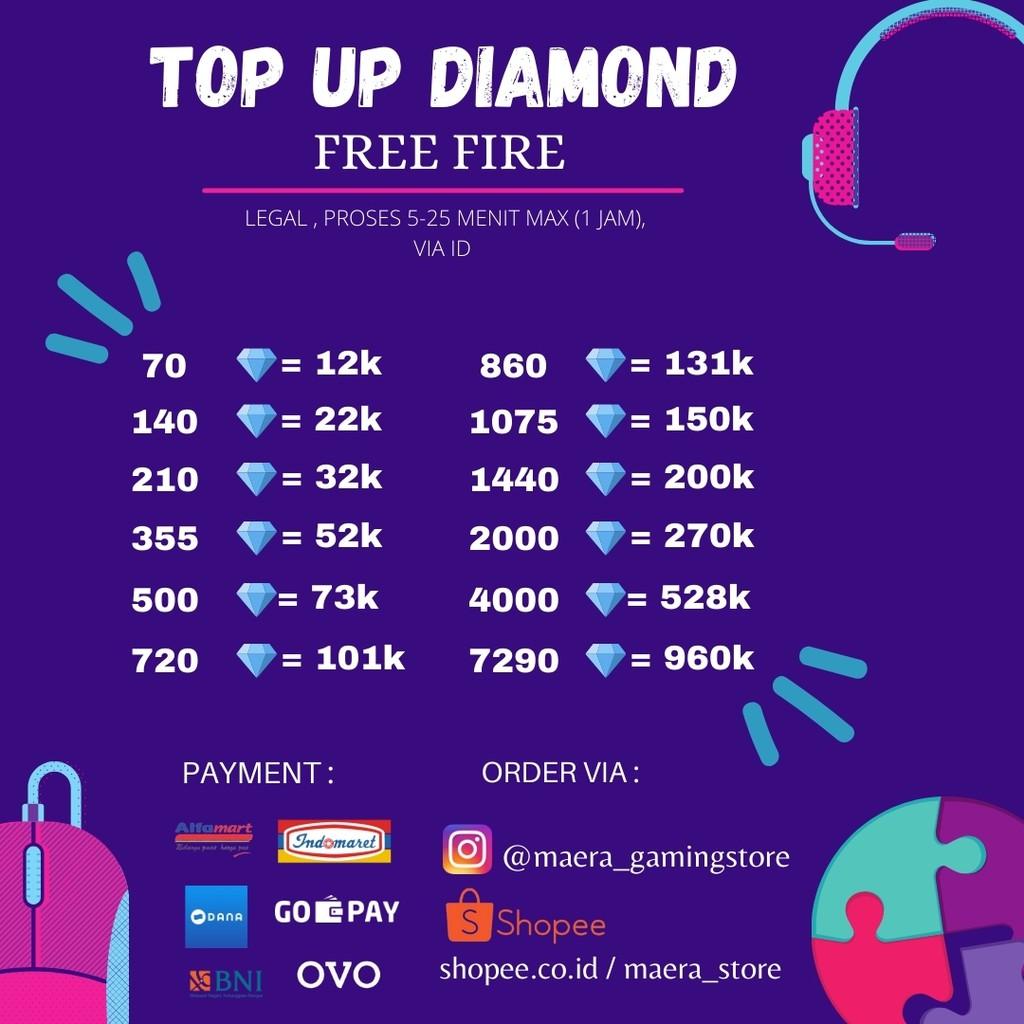 TOP UP DIAMOND FREEFIRE/FF 720-2000DM