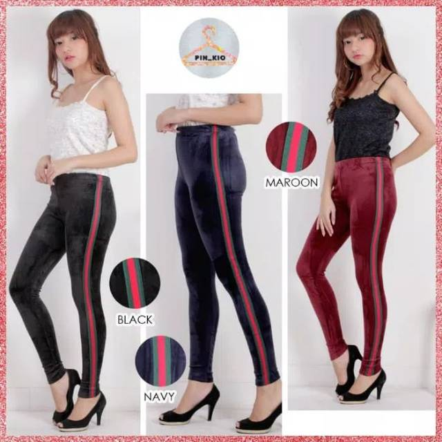 Legging Bludru List Celana Leging Velvet Import Pants Kekinian Shopee Indonesia