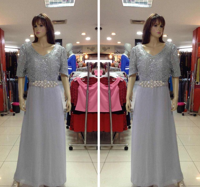 Longdress Jumbo Gaun Pesta Besar Import Baju Pesta 4l Gaun Mama Shopee Indonesia