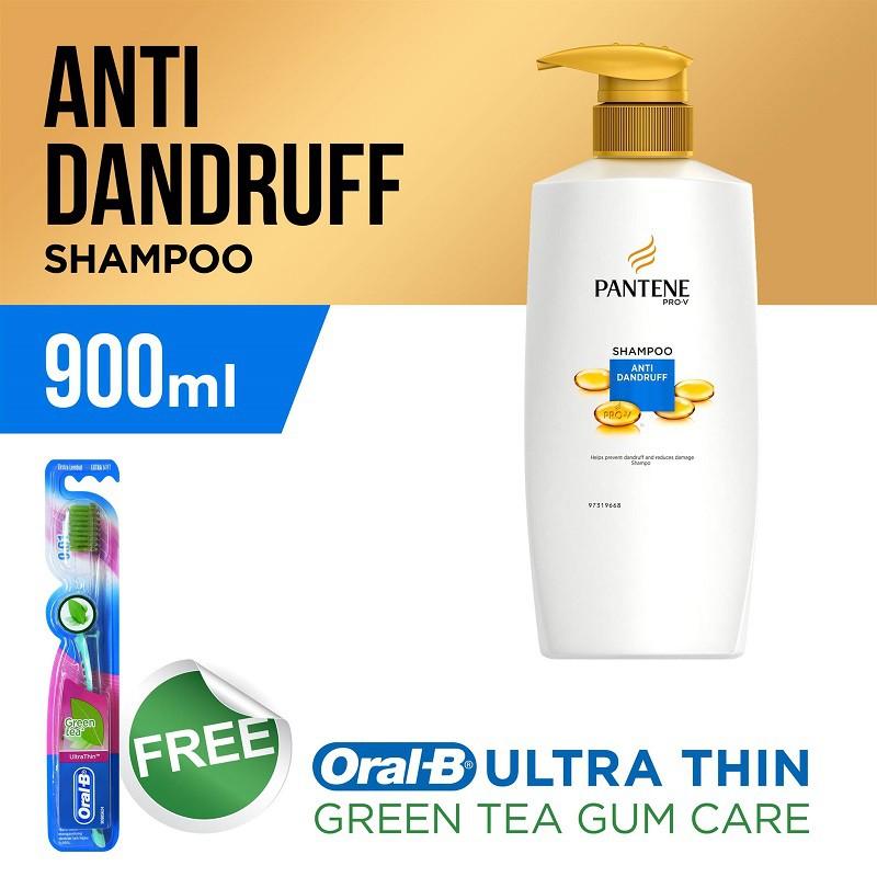 Pantene Shampoo Anti Dandruff 900ml (Free Oral B UltraThin Green Tea Gum Car