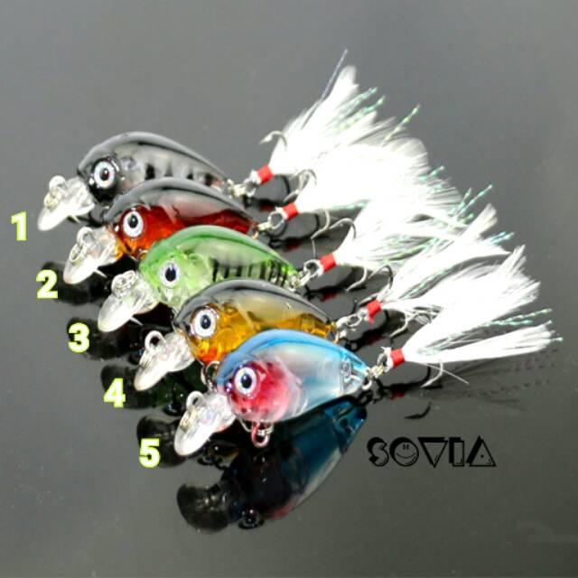 Umpan Pancing Minnow Mini Premium #10 feathered hooks Hard Bait Wobbler