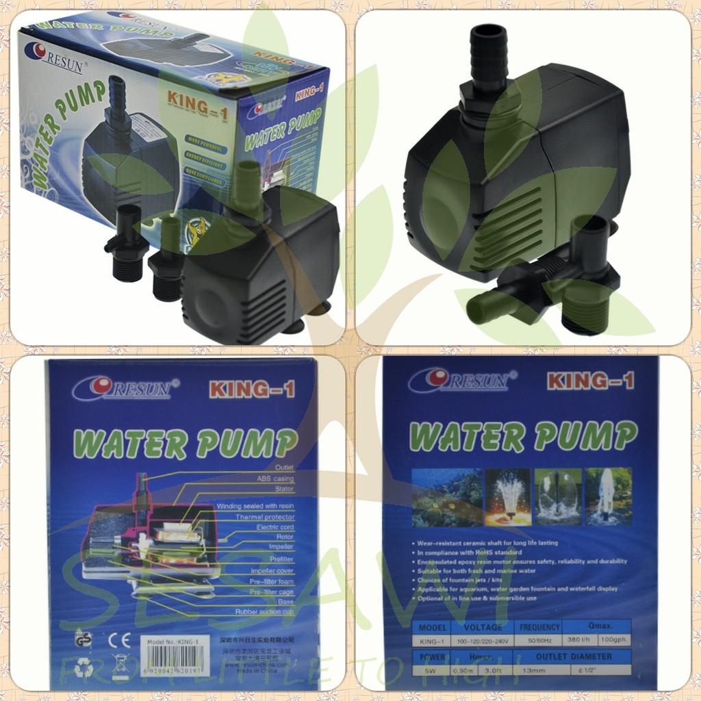 Resun King 1 Pompa Air Hidroponik Kolam 380l Jam 5 Watt Shopee Indonesia