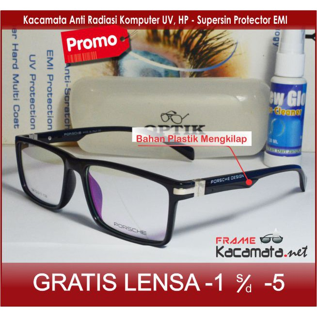 Frame Kacamata Sporty + Lensa Minus Plus Anti Radiasi Komputer Uv Hp Pria  wanita Korea cewek cowok 67176d5d36