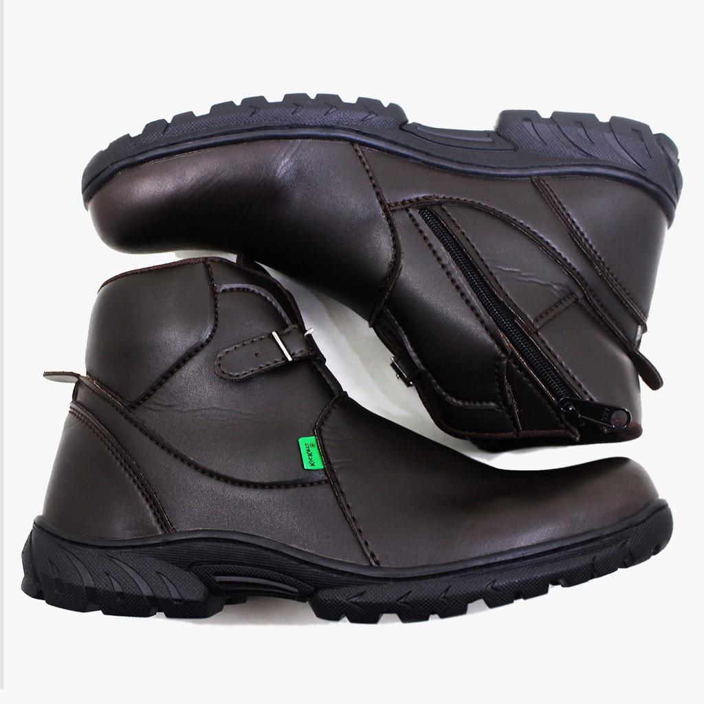 Sepatu safety kulit boots tinggi hitam pria bertali A8 biker   kerja  PDH  99fe5d3872