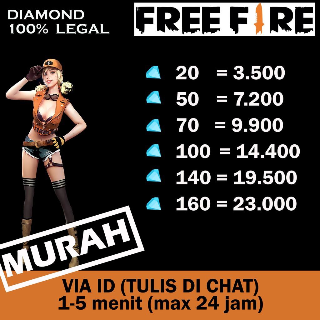 MURAH !!! Top Up Diamond Free Fire/FF/FreeFire/DM FF Cepat dan Aman 100 %