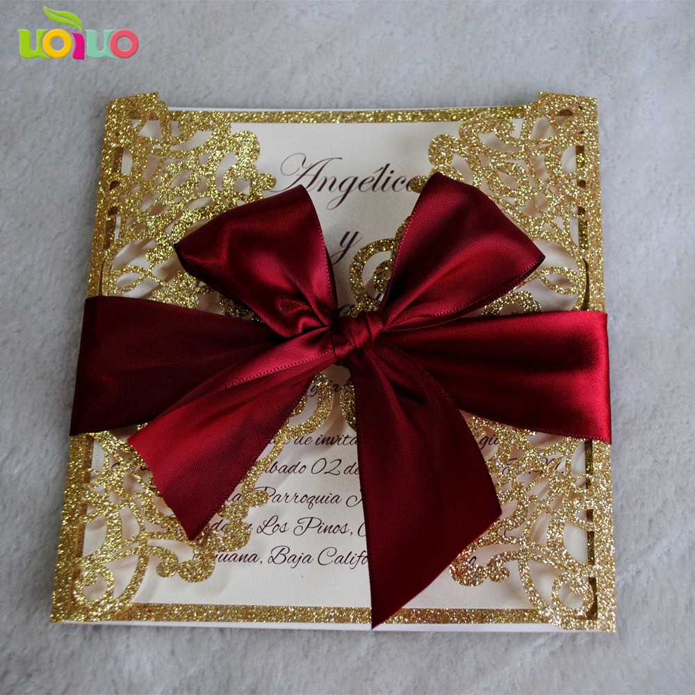 Party Decorations Invitation Card Glitter Paper Design Laser Cut Wedding Invitations With Printed