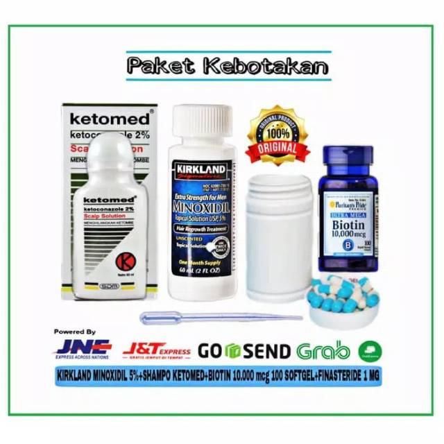 Kirkland Minoxidil 5 Ketomed Finasteride 1mg Isi 30 Biotin 10 000 Mcg Isi 100 Paket Kebotakan Shopee Indonesia