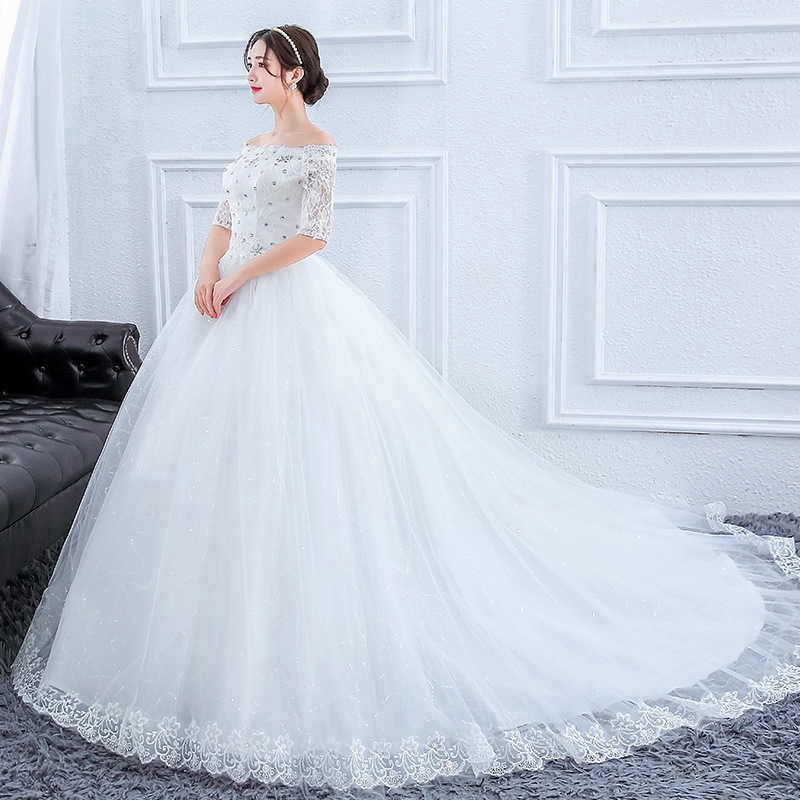 2019 Wedding Dress Full Dress Concise White Korean Bride One Shoulder In Sleeve Self Cultivation Shopee Indonesia