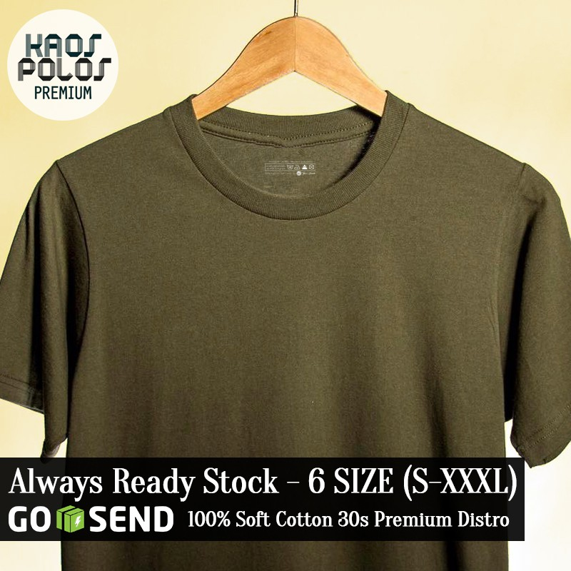 KPP - Kaos Polos Premium Hijau Army Soft Cotton Combed 30s Army Green T-Shirt . 6 Size Std Gildan | Shopee Indonesia