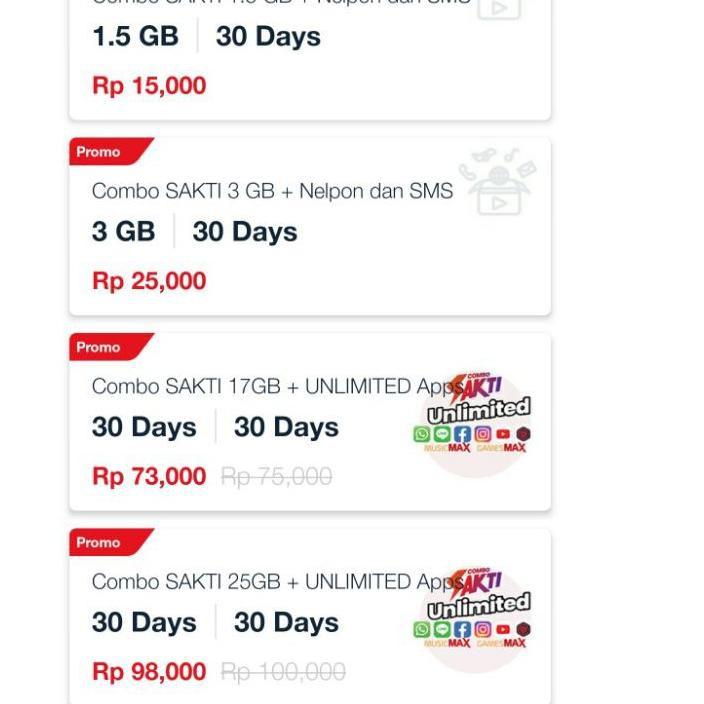 ((COD)) Combo Sakti 25GB + Unlimited Apps Dan Youtube Plus Unlimited Telepon 30 Hari Hanya 15ribu [J