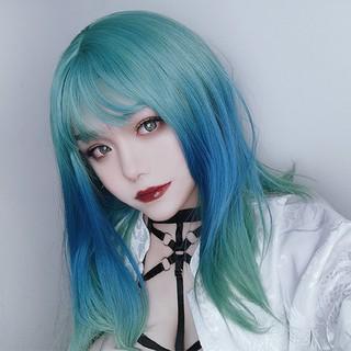 Wig Wanita Gradien hijau Rambut Pendek Dan Lurus Wig Rambut Lurus Panjang Rambut thumbnail