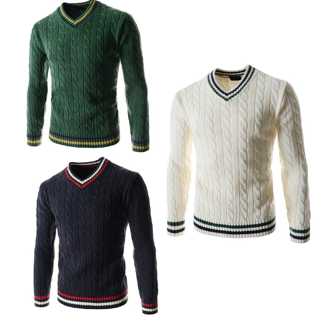 Pakaian Pria: Sweater Santai Bahan Rajutan Wol Model Pullover ...