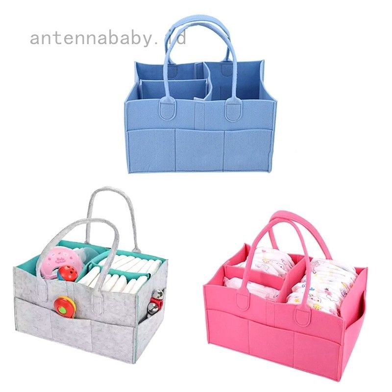 Baby Diaper Organizer Infant Diaper Caddy Organizing Felt Basket Portable Nursery Storage Bin Portable Holder Bag for Changing Table and Car Nursery Essentials Grey