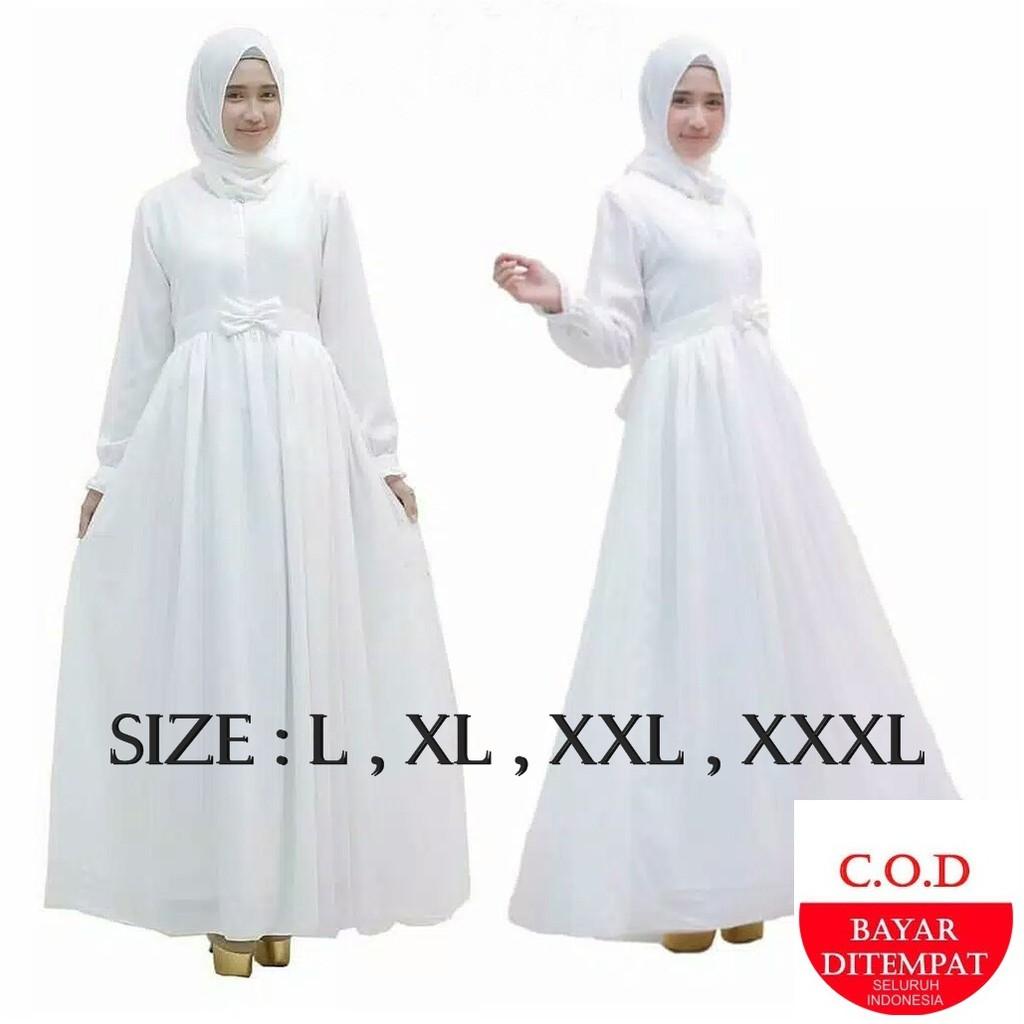 Promo Flash Sale White Maxi Putih Gamis Manasik Haji Gamis Putih Terbaru A25 Shopee Indonesia