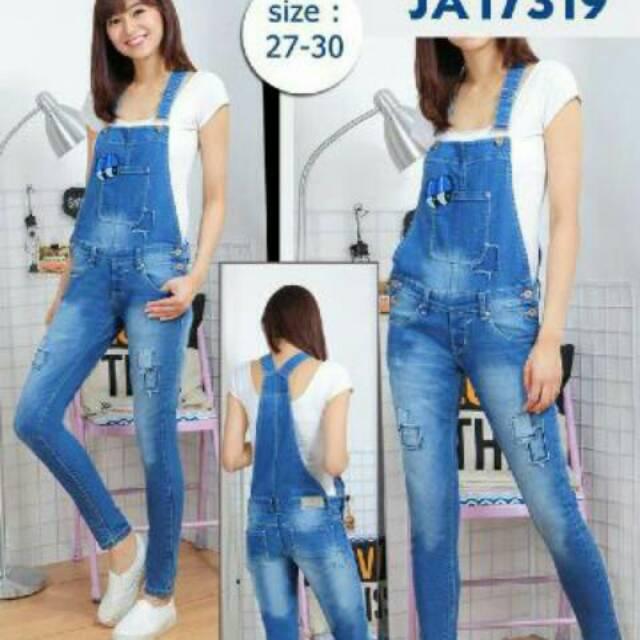 Overall Jeans Sobek Robek Wanita Celana Kodok Panjang Shopee