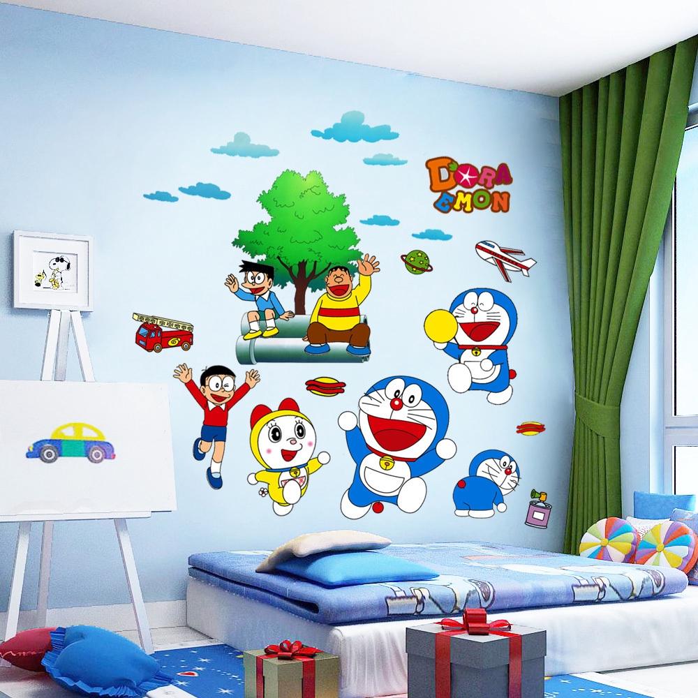 Doraemon kartun dinding stiker dinding kamar tidur yang hangat samping  tempat tidur lukisan dinding