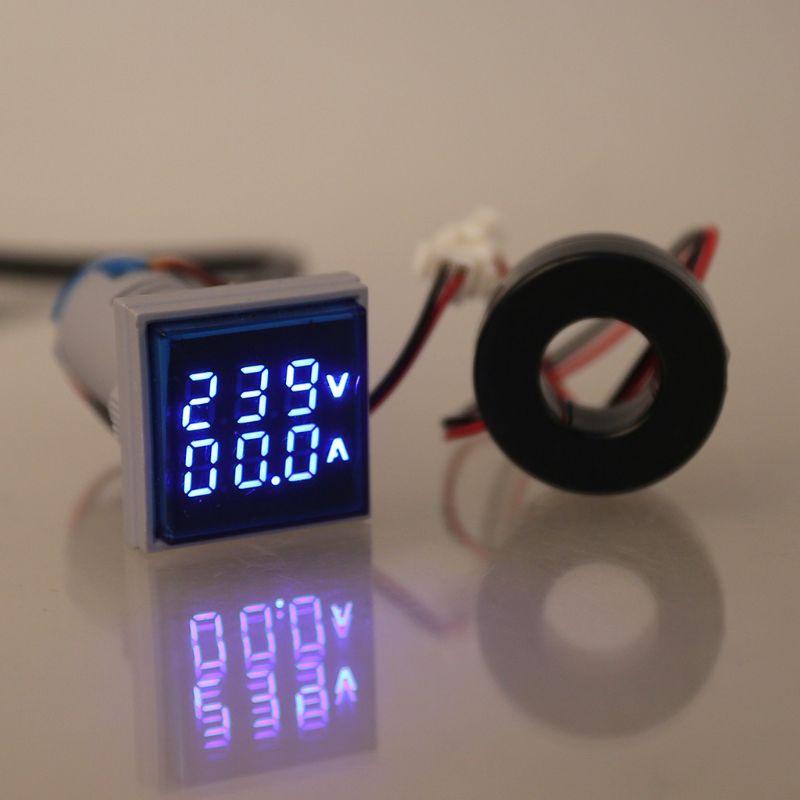 Square Dual Display Voltmeter and Ammeter LED Digital Voltage Gauge AC 60-500V 0-100A Current Meter 5 Color