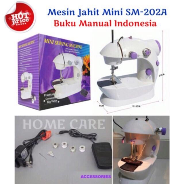MESIN JAHIT MINI PORTABLE SM - 202A NEW ADA LAMPUNYA / SEWING MACHINE 202 LED Lampu   Shopee Indonesia