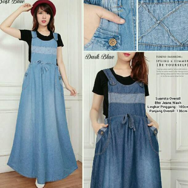 MR - Adelle Overall bhn jeans wash kombinasi songket tenun fit to XL | Shopee Indonesia