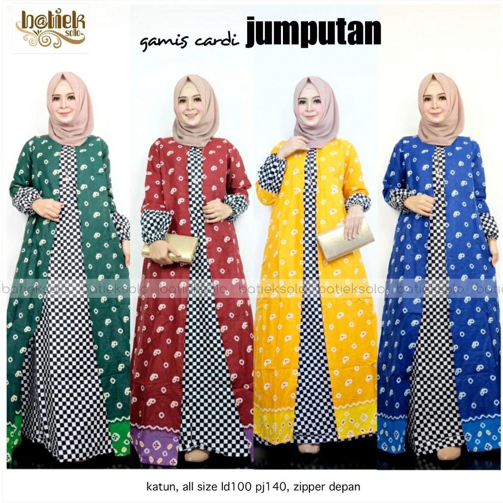 Gamis Cardi Jumputan Batik Layer Kombinasu Muslim Long Maxi Seragam Pesta  Casual Modern Panjang Baru