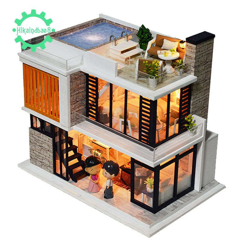 Doll House Diy Miniature Wooden Swimming Pool Villa Kits Toys Shopee Indonesia