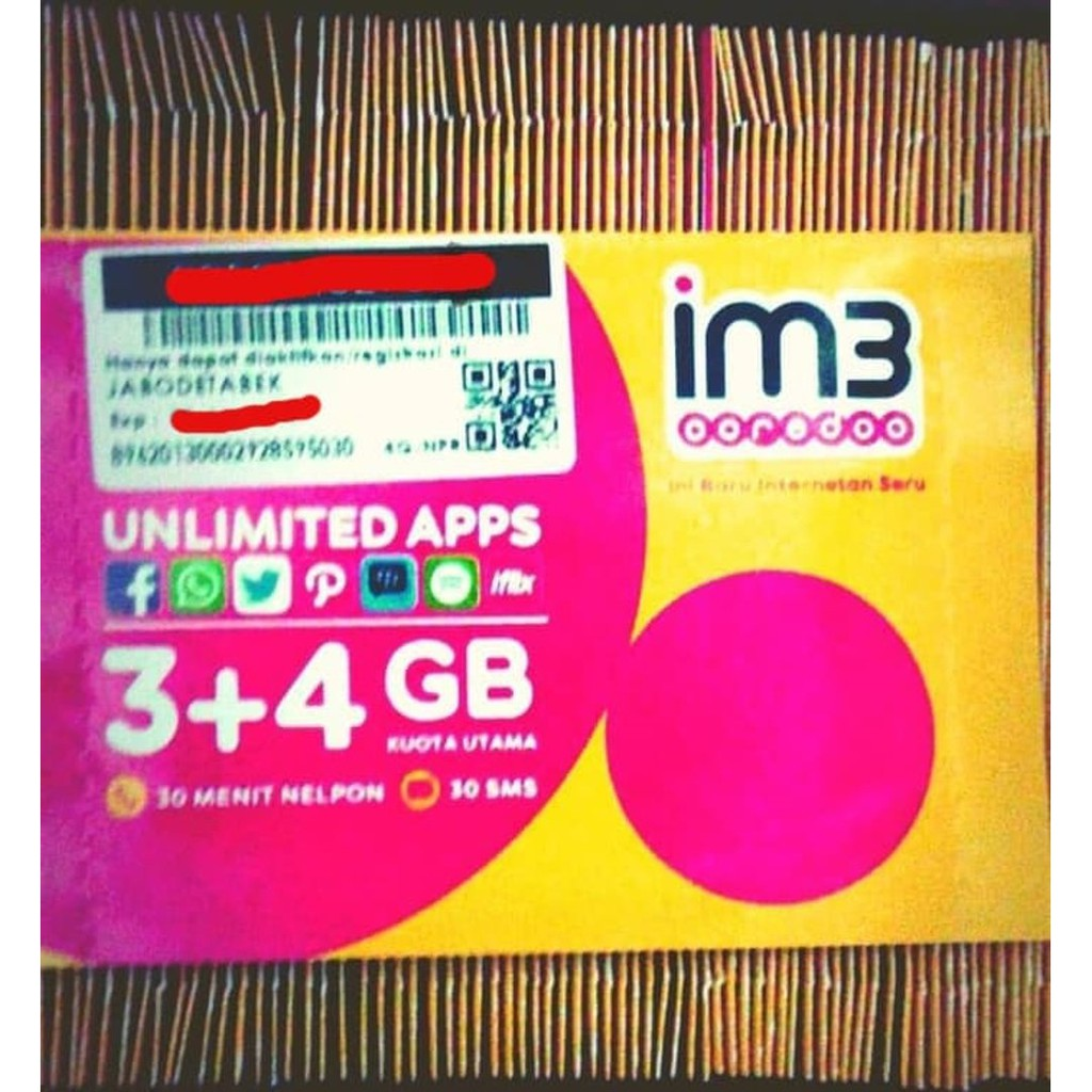 Perdana Indosat 3 4 Gb Unlimited Total Kuota 7gb Shopee Indonesia Im3