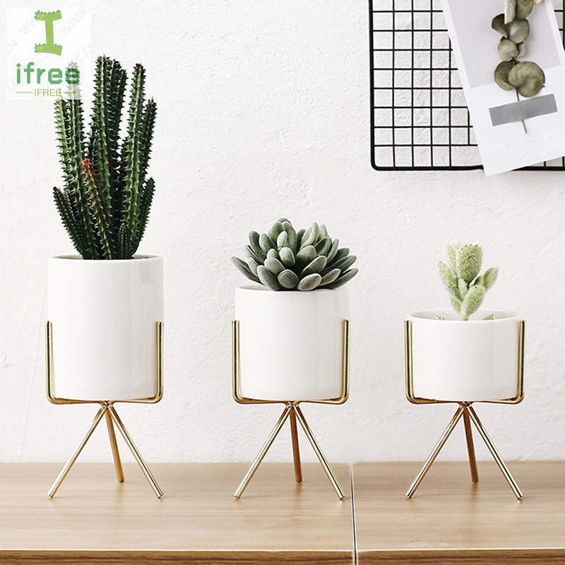 White Ceramic Flower Pot Nordic Style Plant Container With Iron Frame Home Decoration Shopee Indonesia
