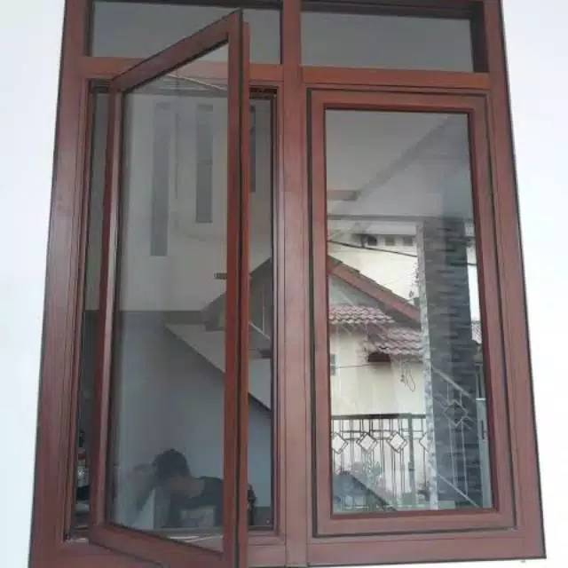 Jendela Aluminium Warna Serat Kayu Shopee Indonesia
