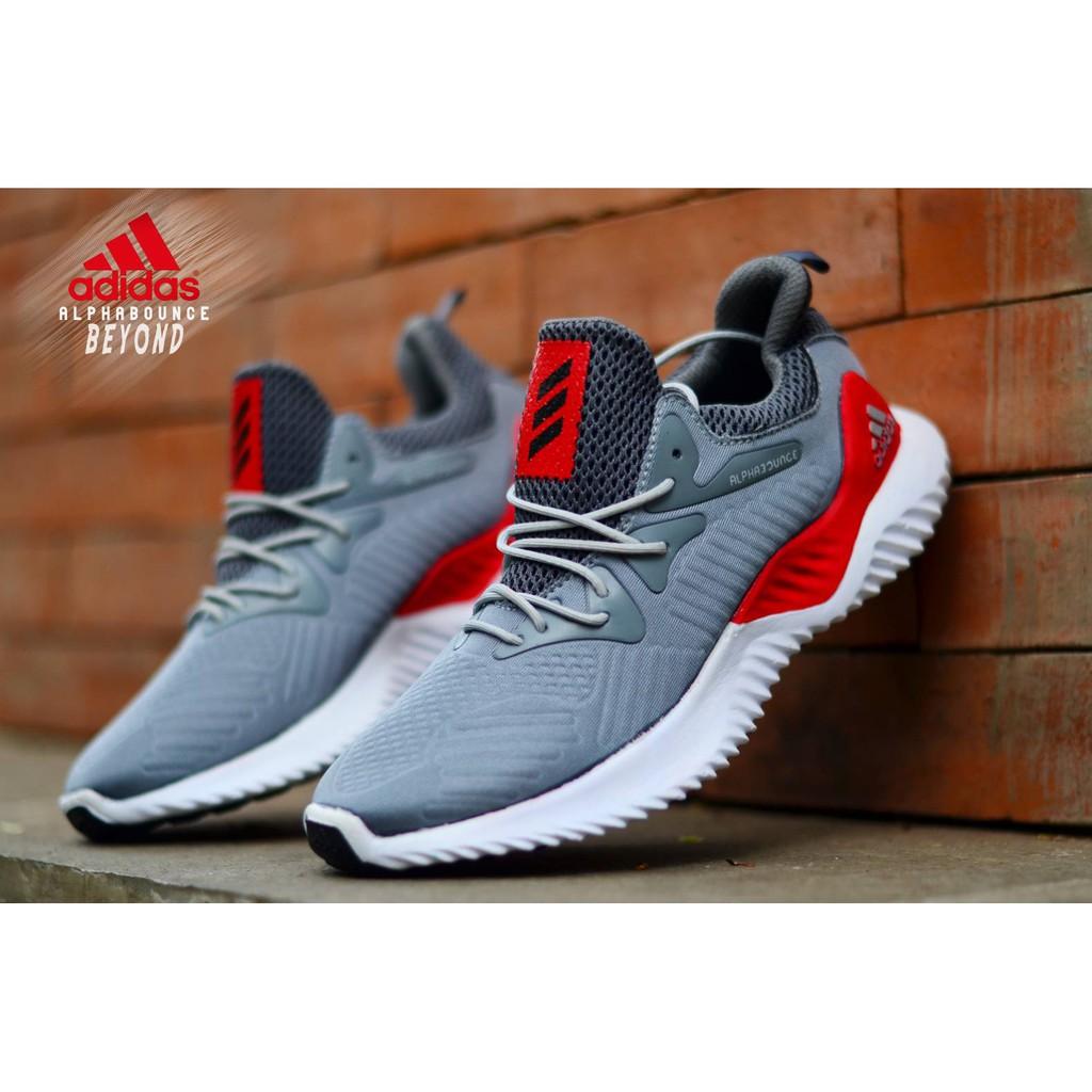 8aace4ffe Sepatu Sneakers Adidas Alphabounce Warna Abu Biru