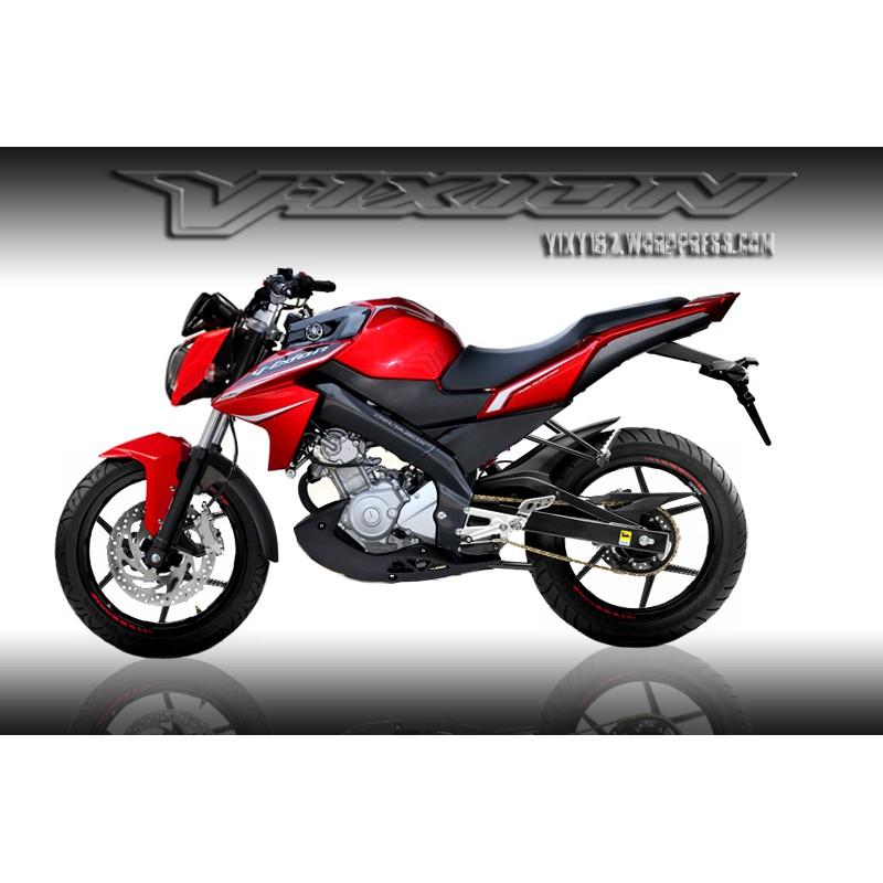 Striping Stiker Motor Yamaha New Vixion 2013 Merah Shopee Indonesia