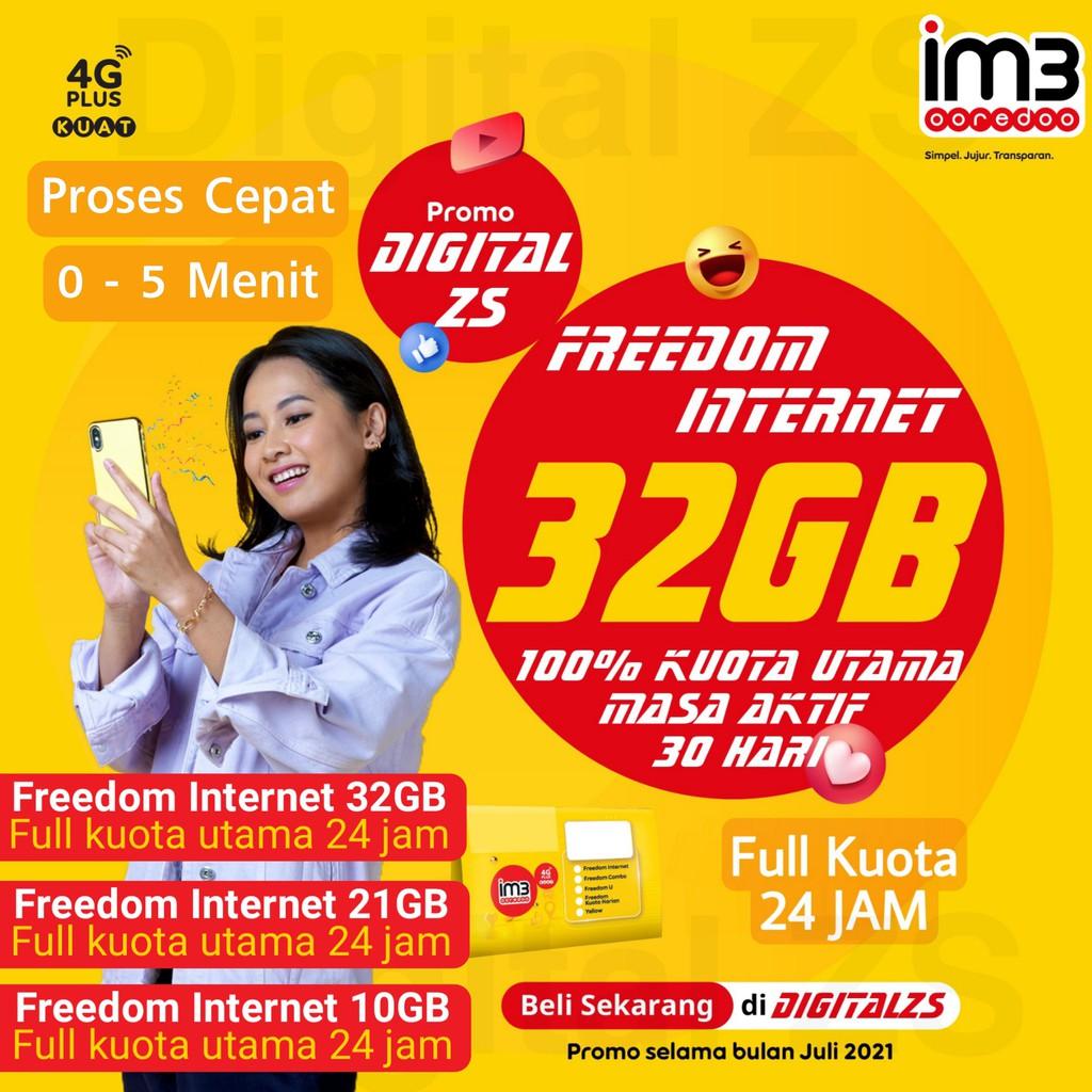 Kuota Indosat Freedom Internet 32gb 21gb 10gb 39gb 26gb 13gb dan 50gb Full Kuota Utama 24 Jam