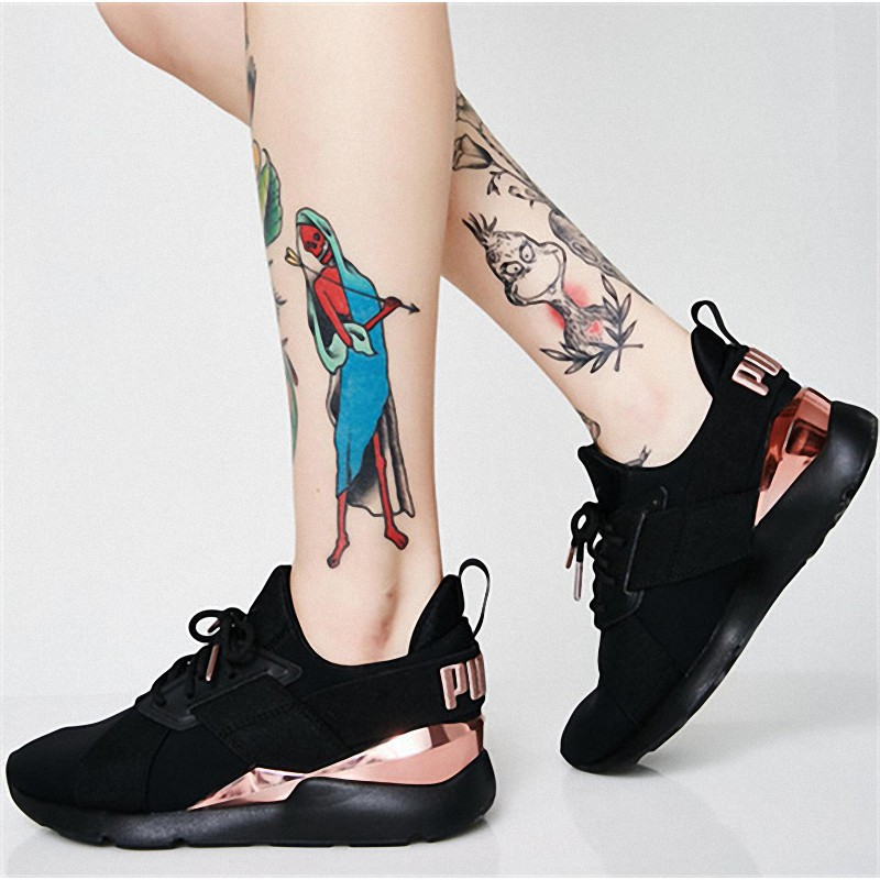 Puma Shoes Sneakers Black Color Satin Material Rose Gold For Women Shopee Indonesia