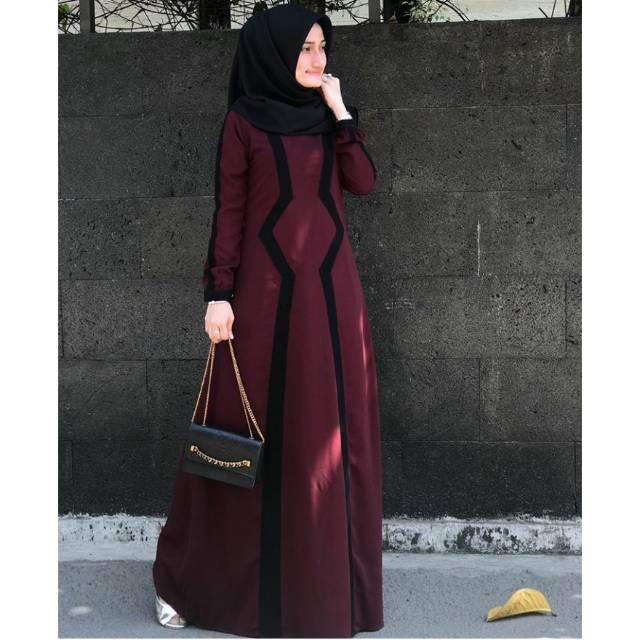 Zaskia Dress Javina Copy Gamis Busui Polos