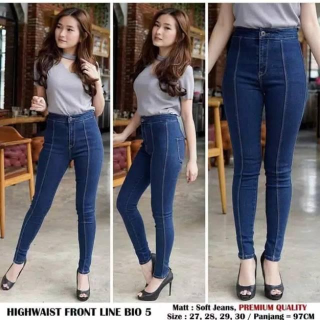 Dpt 2pcs Celana Jeans Wanita Model High Waist Jeans Streach Melar Hw Tulang Murah Kekinian Shopee Indonesia