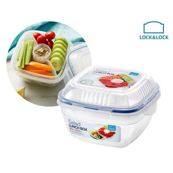 Lock&lock Lunch Box Set with Spoon and Fork - HPL752DB | Shopee Indonesia