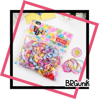 Brgunik - R201 50pcs Ikat Rambut Anak Anak Karakter PerPack 50 Karet Ikat Rambut Rambut Headband thumbnail