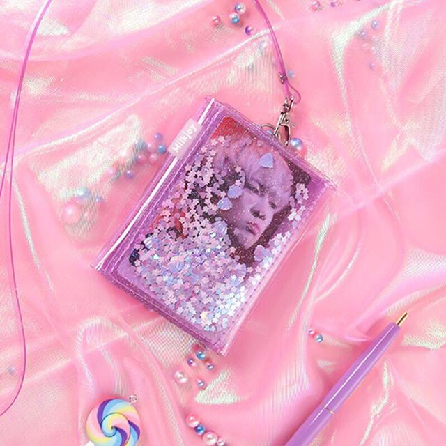 Milkjoy Glitter Transparent Wallet Kpop Dompet Aesthetic Ungu Pink Shopee Indonesia
