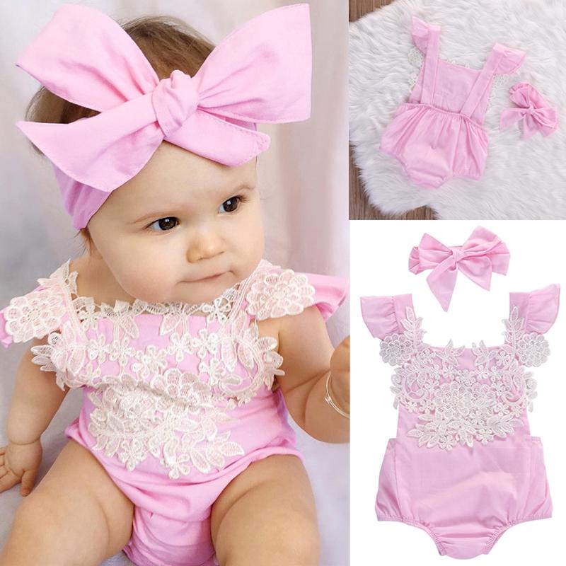 Newborn Toddler Baby Kids Girls Floral Bodysuit Romper Jumpsuit Summer Sunsuit