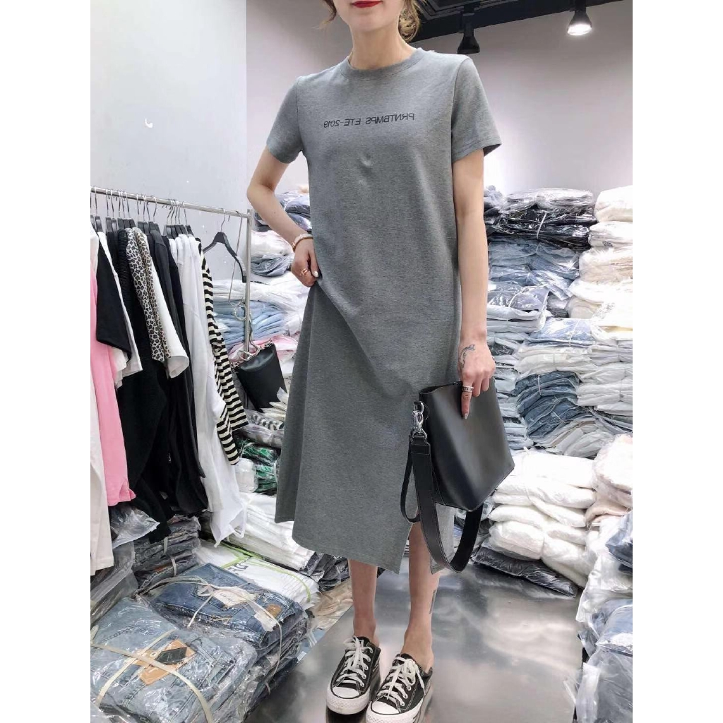 Stella Forest Ete 2018 break code clearance specials summer dress women's 2020 mid-length split  fork t-shirt skirt letters