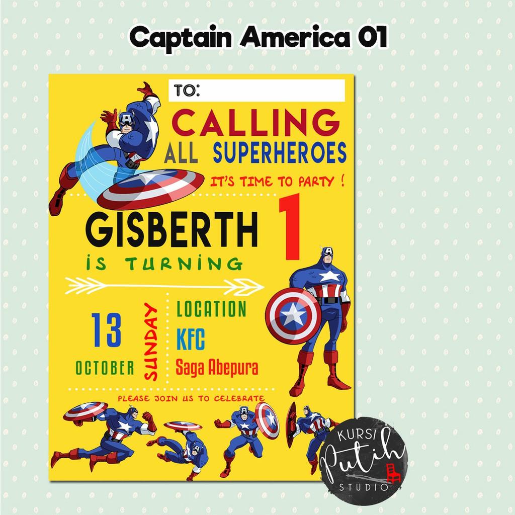 Undangan Ulang Tahun Birthday Invitation Customized Tema Captain America Kapten Amerika Shopee Indonesia